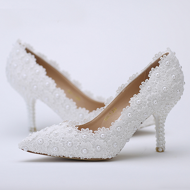 Pointed Toe Wedding Shoes White Lace Flower with Ivory Pearl Heel Fashion Sexy Women Bridal Dress Shoes Cheap Bridesmaid Shoes