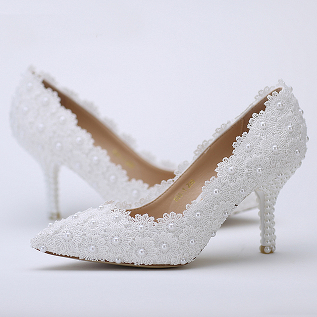 Pointed Toe Wedding Shoes White Lace Flower With Ivory Pearl Heel Fashion  Sexy Women Bridal Dress