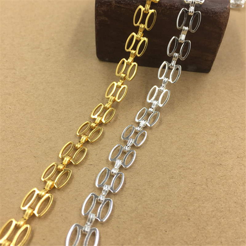 7mm 9mm Fashion Silver Gold Plated Copper Chain Handmade Long Link Chain For Jewelry Making cy2124