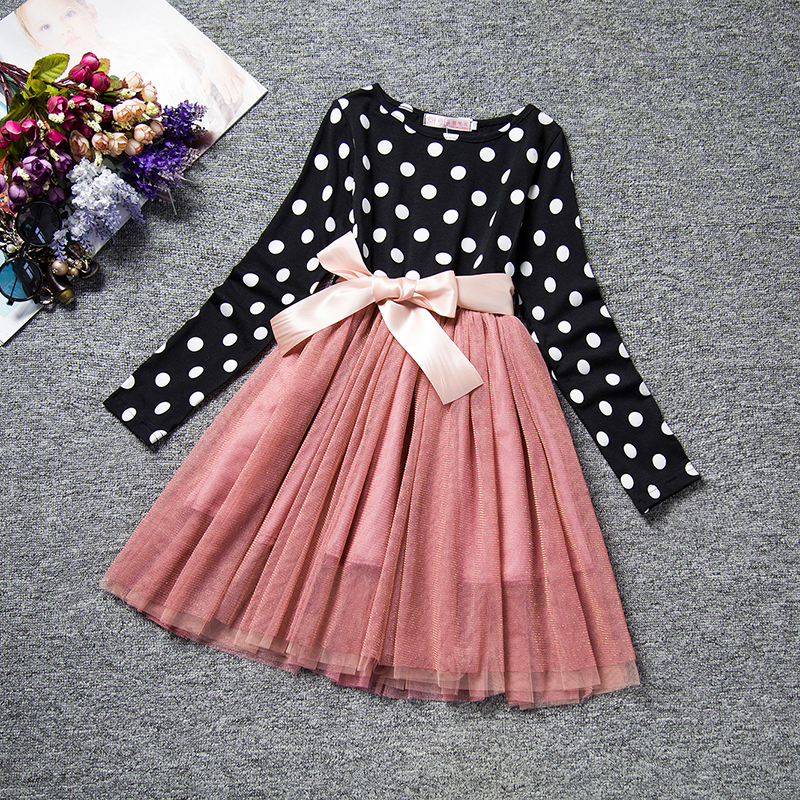 2017 Spring New Design Girl Long Sleeve Dress Elegant Lace Black White Dot Dresses for Girls Kids tutu Princess Hot Sale Fashion 2 10yrs girls dress kids princess dress long sleeve baby girl cute palace style blue and white floral embroidery spring 2017 new