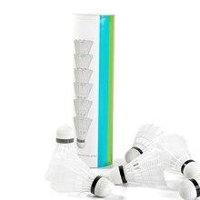 6 шт. супер прочный и легкий пластик нейлон мяч для бадминтона тренировочный мяч пластик челнок пробкового дерева шаровая Головка