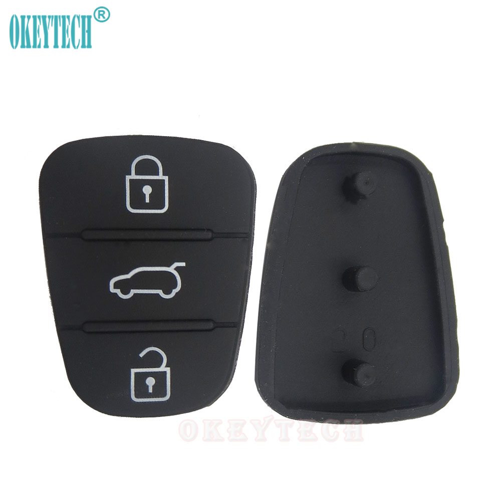 OkeyTech 50pcs lot High Quality 3 Button Car Remote Key Rubber Case Button Pad For Hyundai