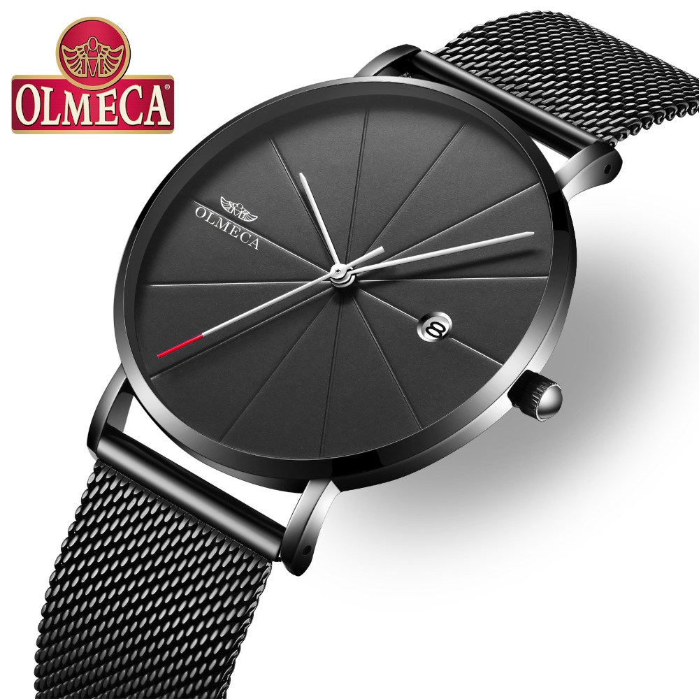 Luxury reloj hombre Quartz Clock OLMECA Men's Watches Complete Calendar Wrist Watch 3ATM Water Resistant Watches Alloy Band цены онлайн