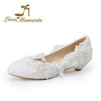 Liefde Momenten Zoete lage hak Bruiloft Bridalshoes Kant bloemen Boog Witte parel kralen Bruiloft Jurk schoenen grote maat 34-44