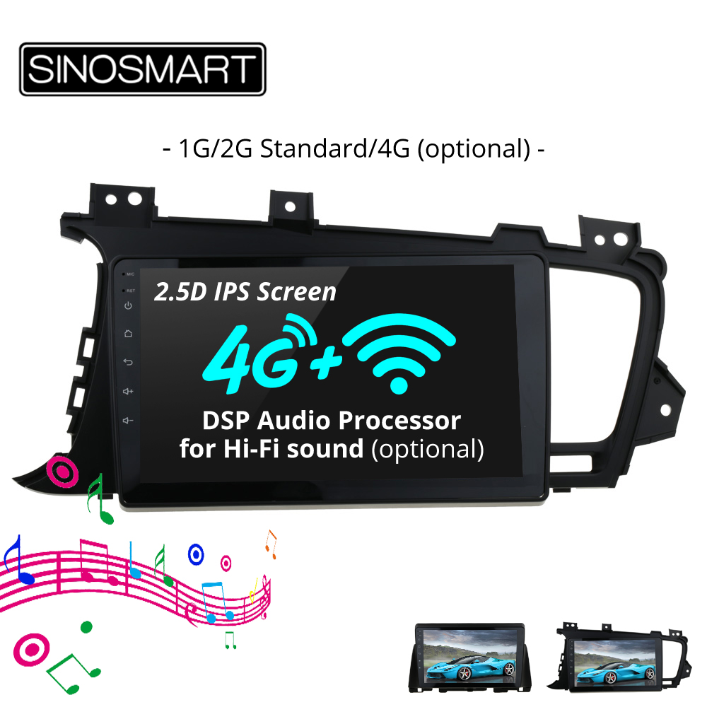 SINOSMART 2 5D IPS Screen 1G 2G Car Audio GPS Navigation Player for Kia K5 Optima