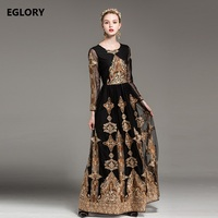 2018 Spring New Long Dress Wedding Party Ladies Vintage Embroidery Long Sleeve Floor Length Dress Maxi