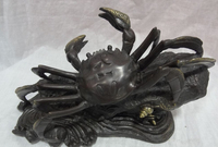 Bi002794 11 Folk Chinese Pure Bronze Carved Animal Art Decorate Crab Statue Sculpture