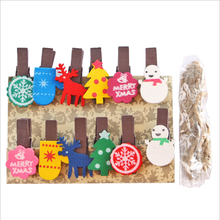 12PCS/bag Mini Wooden Photo Paper Peg Pin Craft Postcard Clips folder hemp school cute Holiday Decoration Christmas gift-giving