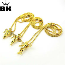 Fashion Gold Tone Hip-hop Necklace Sparkled Micro Baby Angel Floating, Praying, Flying Cherub Pendant Necklace Lovely New(China)