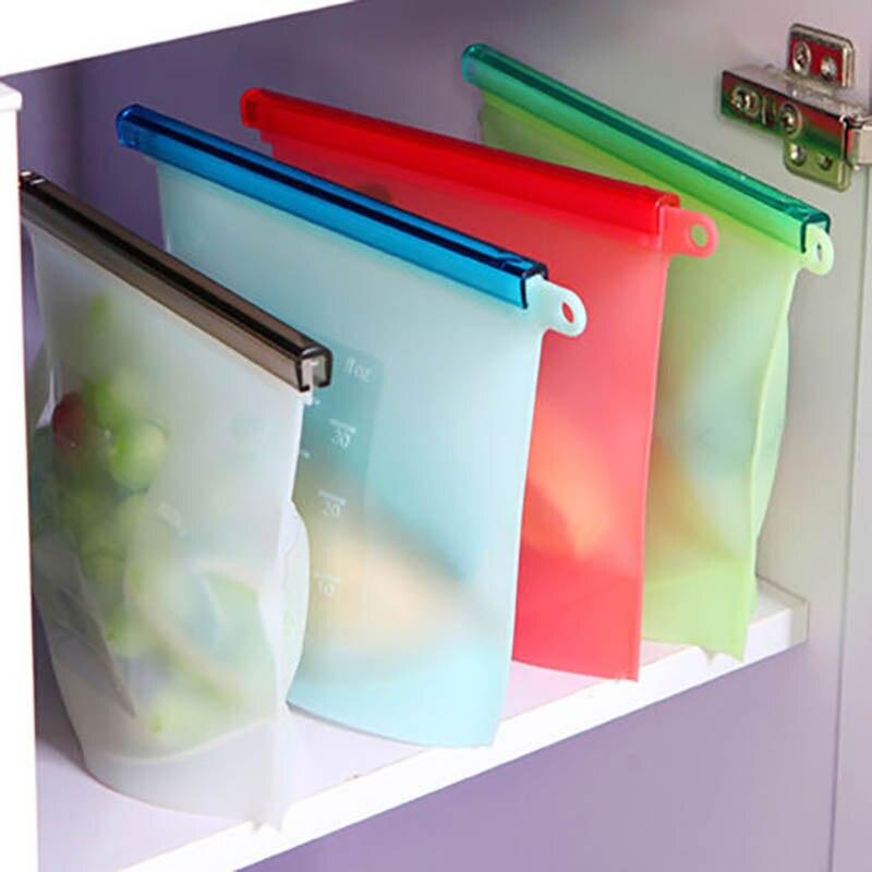Красочные Еда силикона кухня Открытый путешествия Многоразовые Вакуумный Еда герметик Сумки Обёрточная бумага холодильник Еда контейнер для хранения tslm1