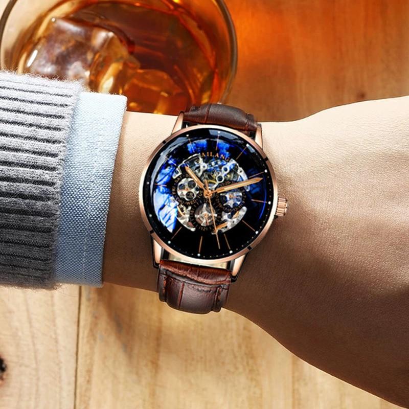 2018 nuevo reloj mecánico automático de lujo para hombre, reloj de pulsera con engranaje suizo, reloj de pulsera de cuero de ocio a la moda, reloj diésel-in Relojes mecánicos from Relojes de pulsera    1