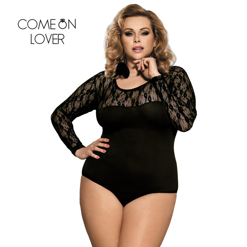 Comeonlover Women Lace Short Jumpsuit Sexy Transparent Long-sleeve Bodysuit Black Body Femme Sexy Romper Sheer Bodysuit RI80372