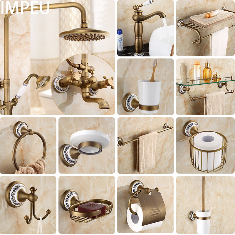 20-Piece Antique Brass Wall Mounted Bathroom Hardware Set Toilet Paper holder/ Robe Hook/ Towel Bar/ Towel Rings20-Piece Antique Brass Wall Mounted Bathroom Hardware Set Toilet Paper holder/ Robe Hook/ Towel Bar/ Towel Rings