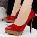 Grão de madeira da forma das mulheres sapatos de salto alto mulheres bombas de casamento sapatos de plataforma do dedo do pé apontado bombas 12.5 cm B9266-2