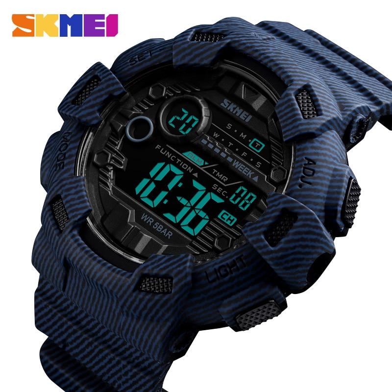 SKMEI New 2019 Fashion Sport Watch Men Alarm Clock Waterproof Week Display Men Watches Denim Digital Watch Relogio Masculino