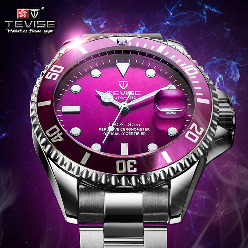 Hot Tevise Men Mechanical Watch Automatic Date Fashion luxury submariner Clock Male Role Sport Business Clock Relogio Masculino tevise fashion auto date automatic self wind watches stainless steel luxury gold black watch men mechanical t629a with tool