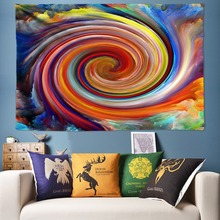 Abstract Galaxy Tapestry Hippie Wall Hanging Rainbow Whirlwind Space UFO Decorative Tapestries Beach Towel