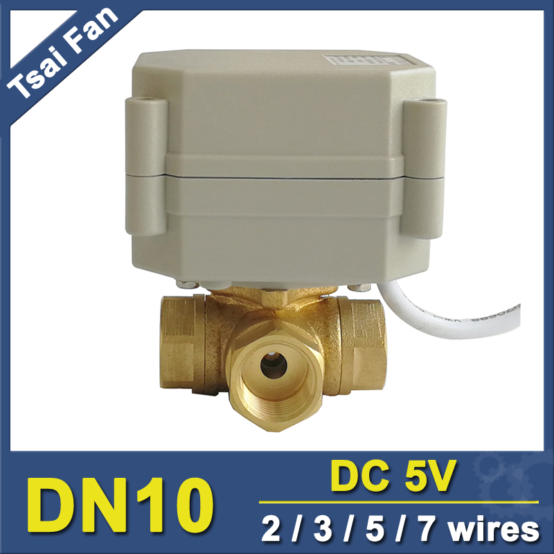TF10-BH3-A 3 Way Horizontal T/L Type Brass 3/8'' (DN10) Motorized Ball Valve Metal Gear DC5V 2/3/5/7 Wires For Water Control tuffstuff ap 71lp