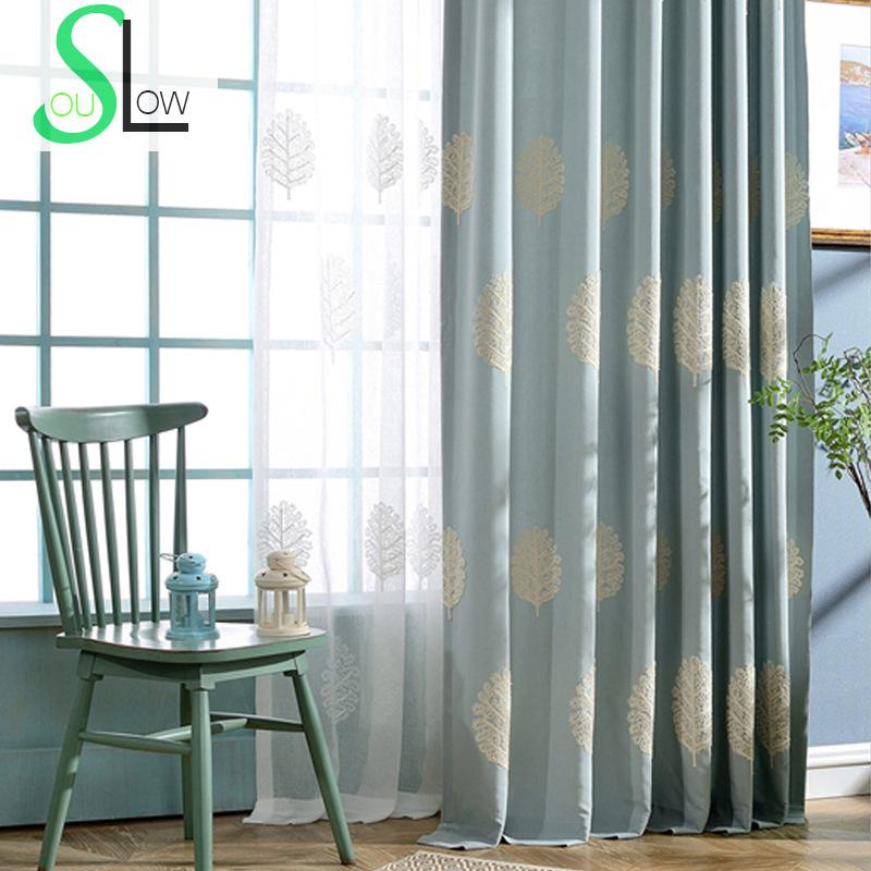 Slow Soul Blue Champagne Tree Embroidered Curtains Bedroom Factory Direct Sales For Living Room Kitchen And Tulle Tende Cortinas