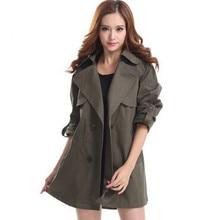 2016 Winter Slim Fit Double-breasted Trench Coat For Women long Outwear OL coat