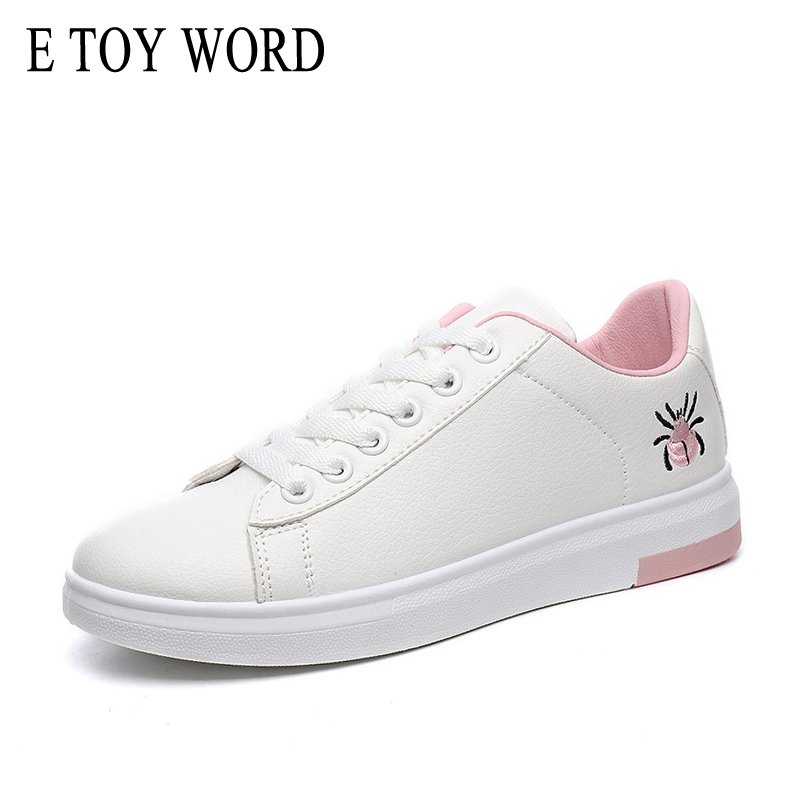 E TOY WORD 2018 Spring Summer Shoes Women Flats Soft Leather Fashion Womens casual sneakers Korean Joker white shoes