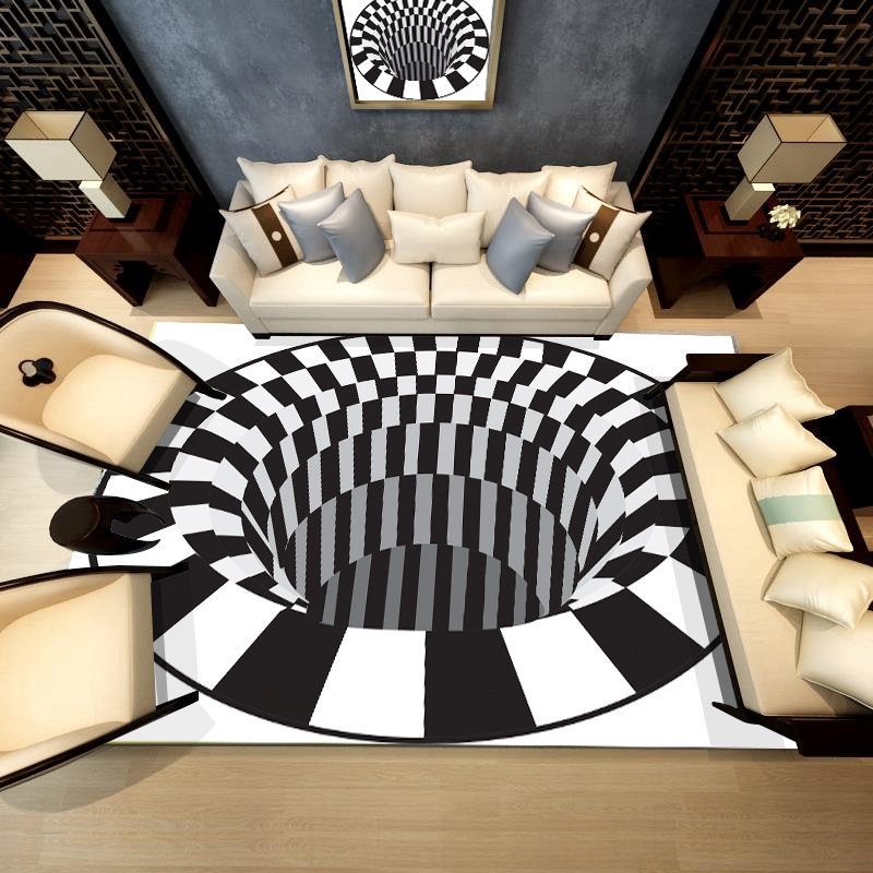 3D White Black Abstract Geometric Living Room Area Rugs Carpets Optical Illusion Printed Tapete Non-Slip Floor Mats Home Decor