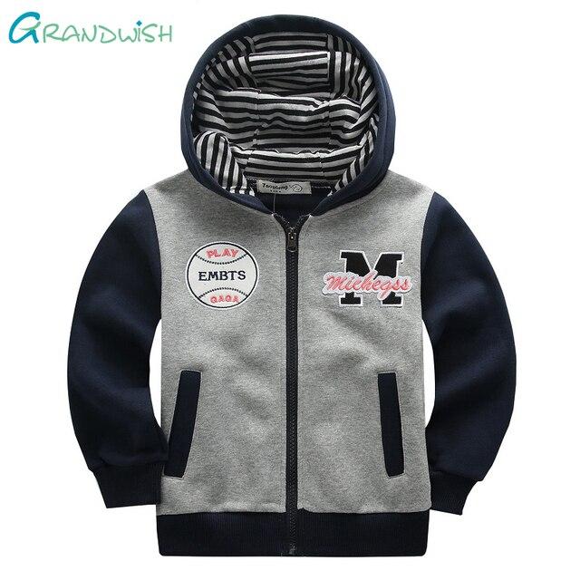 Grandwish Boy's Spring Hooded Hoodies Children Sports Coat Autumn Casual Sweatshirts for Girl Cotton Jacket for Boy 24M-8T,SC915