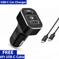 45W USB C PD Car Charger with Power Delivery 5V 20V Quick Charge 3.0 USB C 18W QC3.0 USB Car Charger Adapter for Laptop Notebook