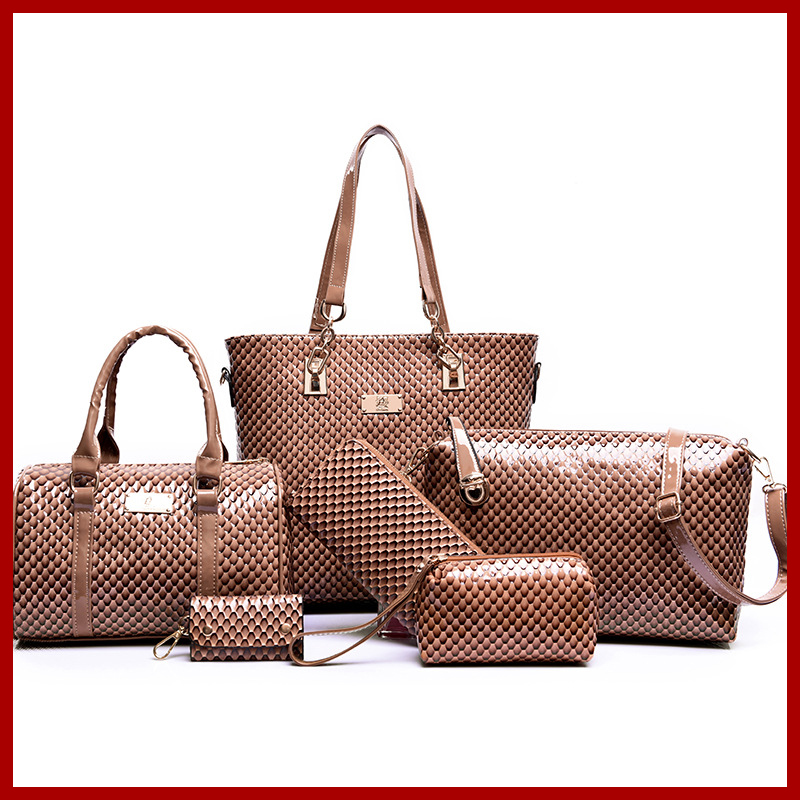 2015 European and American brand women handbag shoulder bag crocodile pattern handbag Handbag+Messenger Bag+rse+Wallet 6 sets hjphoebag fashion crocodile handbag pu leather bag women handbags crossbody bag handbag messenger bag rse wallet 6 sets z 0077