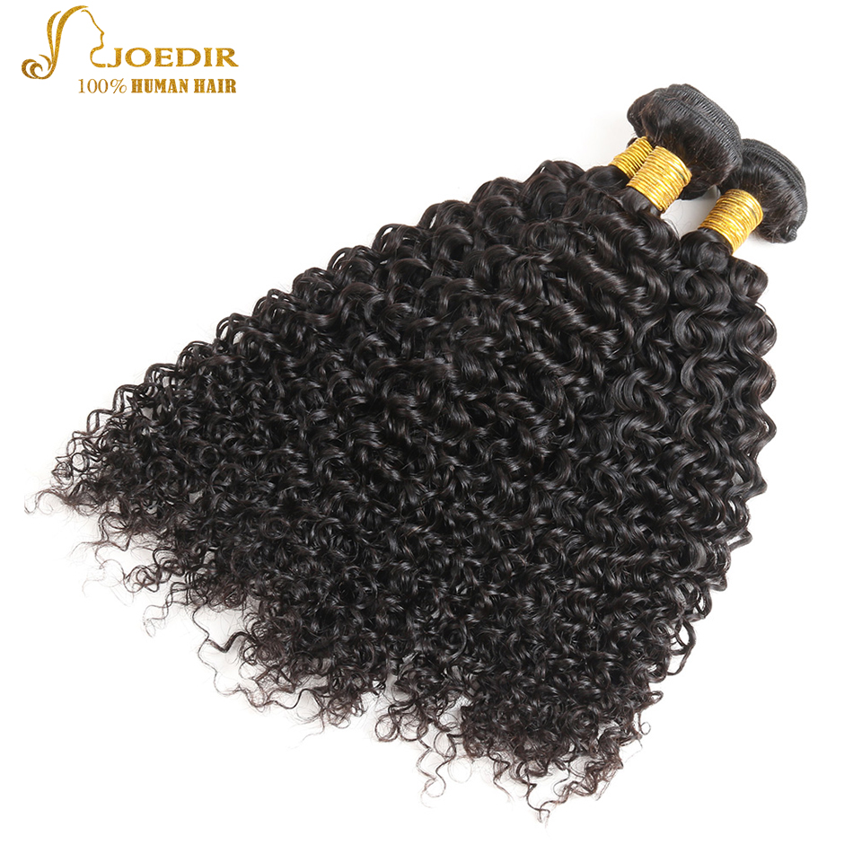 Indian Kinky Curly Hair Joedir Hair Products 3 Pcs/ Lot Non Remy Kinky Curly Human Hair Bundles Deal Natural Black Free Shipping