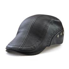 Nowy jesień zima Beret czapki Unisex mężczyźni czapki PU skóra solidny Beret kapelusz brytyjski retro mężczyźni kobiety wełnie płaskie Cap Boina Hat tanie tanio Dorosłych Gemay G M Patchwork Casual CAP326 Berety PU Leater