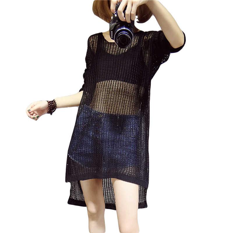 veranos nueva mujeres del suéter femenino suéter tejido hueco hacia fuera del g