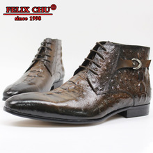 Luxury Brand Leather Men Boots Shoes Alligator Print Fashion Boots Lace-up Hasp Pointed Toe Ankle Boots Men Shoes Leather Boots christia bella fashion genuine leather men boots pointed toe lace up ankle boots for men wedding dress shoes winter cowboy boots