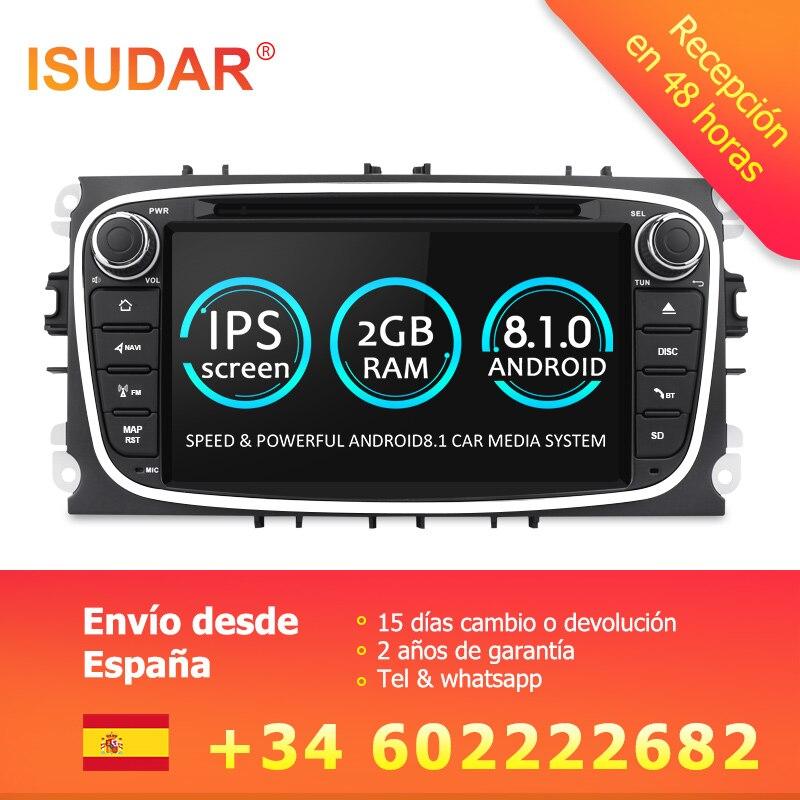 Isudar Универсальная штатная Автомагнитола навигация 2 Din с 7 дюймовым экраном на android 8.1 для Автомобилей FORD/Focus/S-MAX/Mondeo/C-MAX/Galaxy Радио DSP