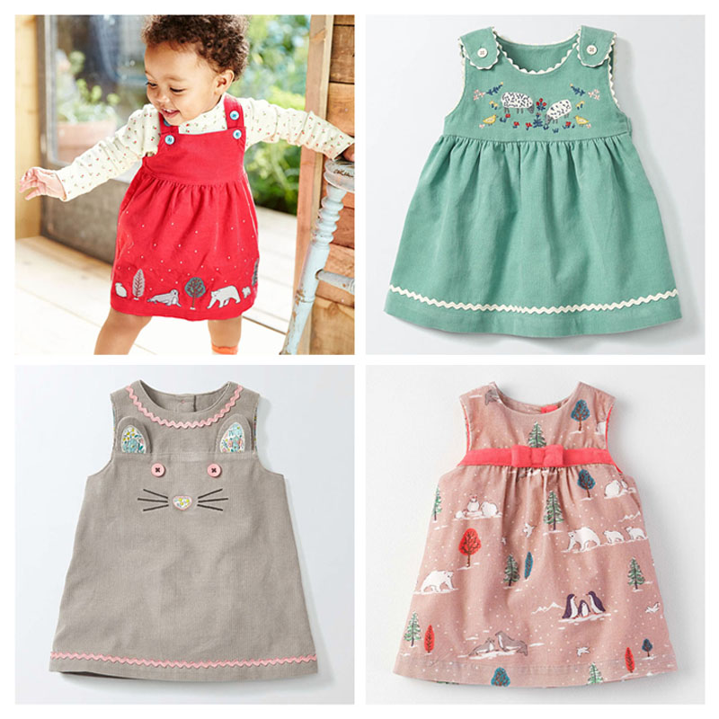 New 2017 Brand Quality Corduroy Cotton Baby Girls Dress Long Sleeve Children Clothing Baby Girl Clothes Bebe Kids Sundress Girls little maven children clothing 2017 new summer baby girls brand clothes kids cotton dot pocket dress s0135