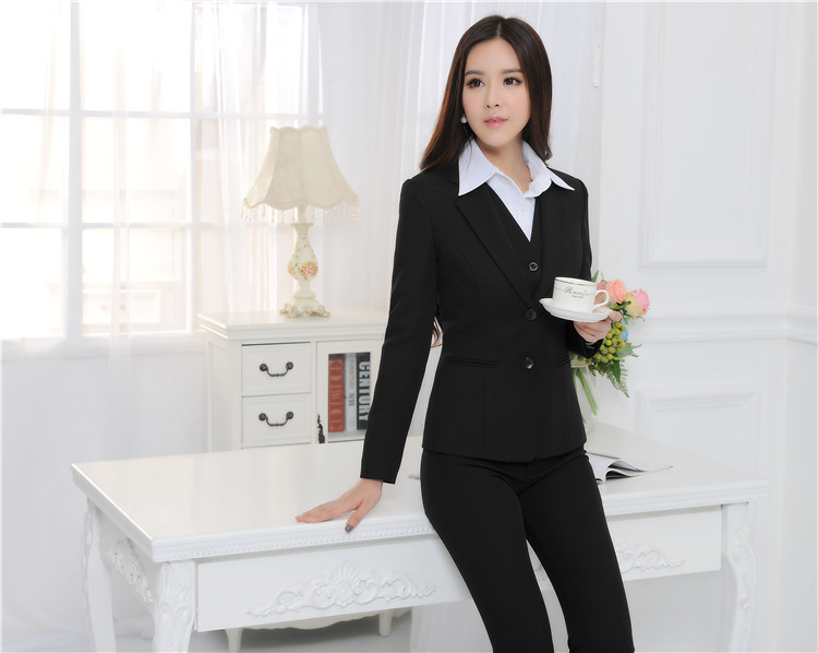 Formal Uniform Design Autumn Winter Professional Business Work Suits 3 pieces With Jackets Pants Vest Female