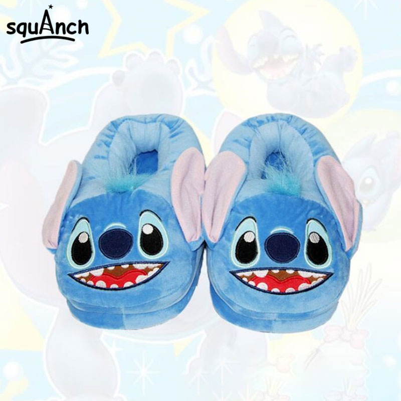 Cute Stitch Blue Slippers 35-42 One Size Kugurumi Onesies Cartoon Anime Shoes Festival Home Sneakers Adult Boy Girl Foot Wear
