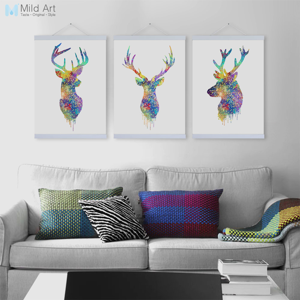 Us 8 74 47 Off Original Watercolor Animals Abstract Deer Head Wooden Framed Canvas Painting Home Decor Wall Art Print Picture Poster Scroll In
