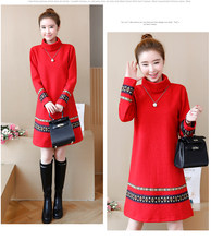9e5998e9ab1 Chinese Style Winter Wool Dresses Women Fashion Long-sleeved Turtleneck  Cotton embroidered Dress Plus Size Jumper Tunic Dress