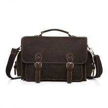 Fashion Designer Brand Messenger Shoulder Bag Handmade Vintage Laptop Briefcase Crazy Horse Leather Crossbody Tote Bag 8012