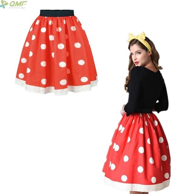 eda09e5c3 € 11.95 |Moda rojo Polka Dot mujeres Faldas alta cintura vintage plisado  skater falda faldas señora elegante bola clásicos SAIA en Faldas de La ...