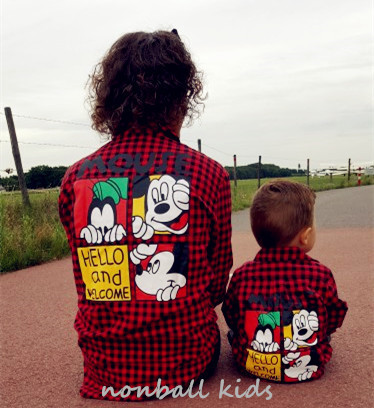 2pieces/lot in stock wholesale Family matching look Casual cartoon printed cotton mother and daughter son outifts clothes shirts