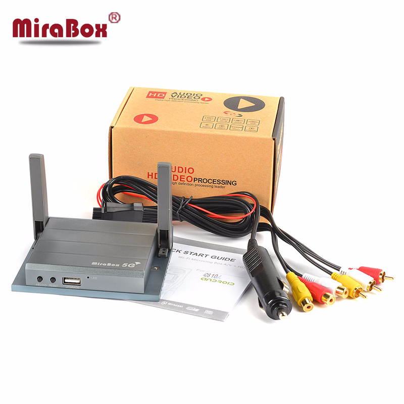MiraBox 5G Car WiFi Mirrorlink Box with Cigarette Lighter Plug for Car WiFi Display/Airplay/Screen Mirroring HDMI+CVBS