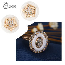 Fashion Gold Star Stud Earrings Egg Shape Rings for Women 585 Gold Color Crystal Rhinestone White Never Fade Ceramic Jewelry Set(China)