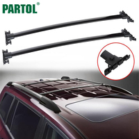 Partol Black Car Roof Racks Cross Bars Crossbars 132LBS 60KG Cargo Luggage Top Carrier Snowboard For