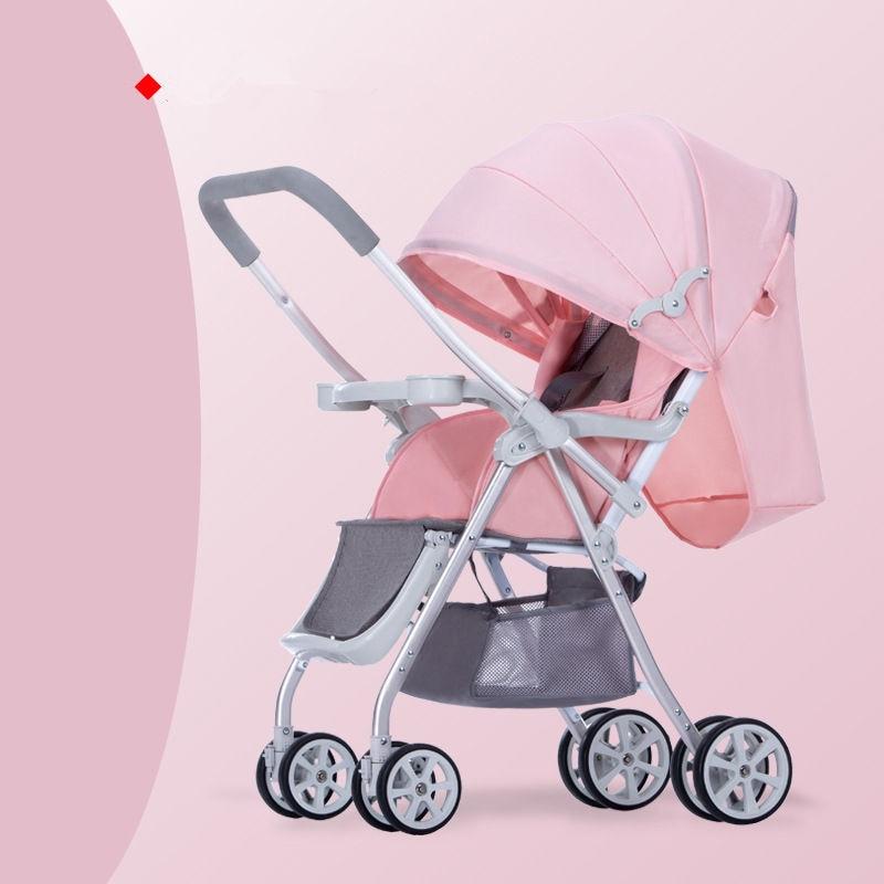 Детская прогулочная коляска, многофункциональная алюминиевая, Легко складная детская коляска с четырьмя колесами - Цвет: pink