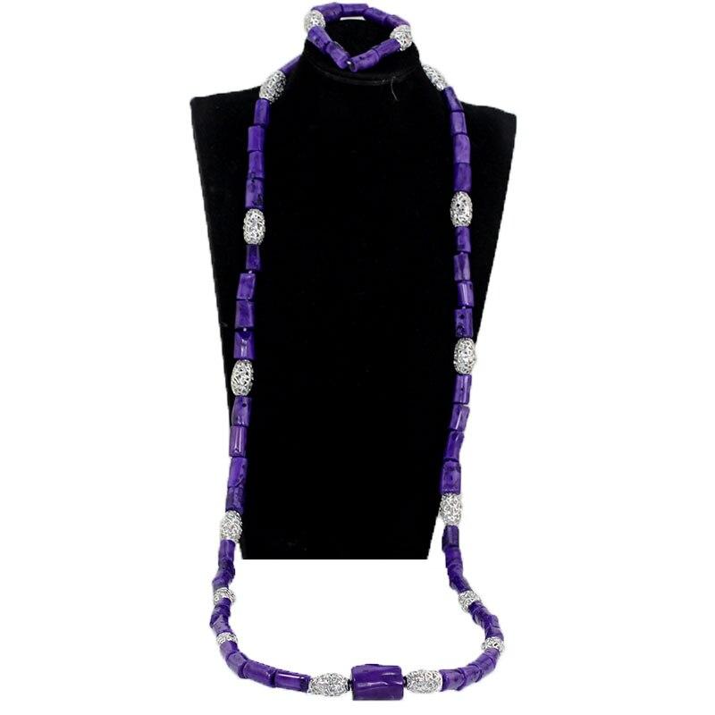 2018 dernier violet hommes corail perles collier Bracelet ensemble violet/argent bijoux africains ensemble mariage marié corail perle CNR138