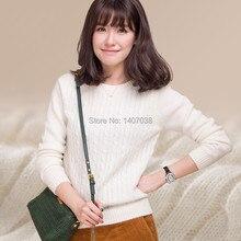 Бесплатная доставка новый 100% кашемировый свитер женщин вскользь рубашку с длинными рукавами свитер хеджирования толщиной осенью и зимой свитер женщина