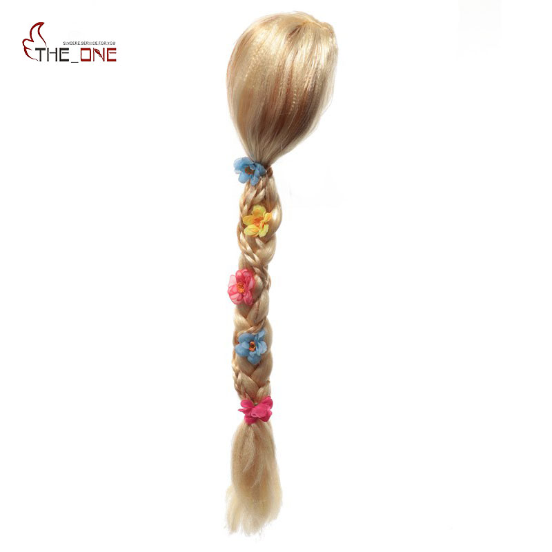 MUABABY Children Girls Wig Kids Princess Cosplay Party Supply Elsa Anna Aurora Belle Braid Mermaid Jasmine Moana Rapunzel Hair стоимость