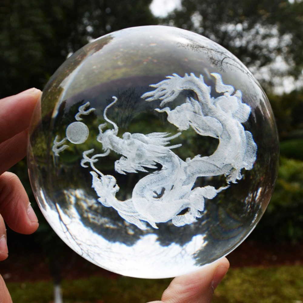 Home & Garden Home Decor Persevering 60/80mm Glass Ball 3d Laser Engraved Dragon Crystal Ball Feng Shui Globe Home Decoration Accessories Glazen Bol Miniatures Gifts Shrink-Proof